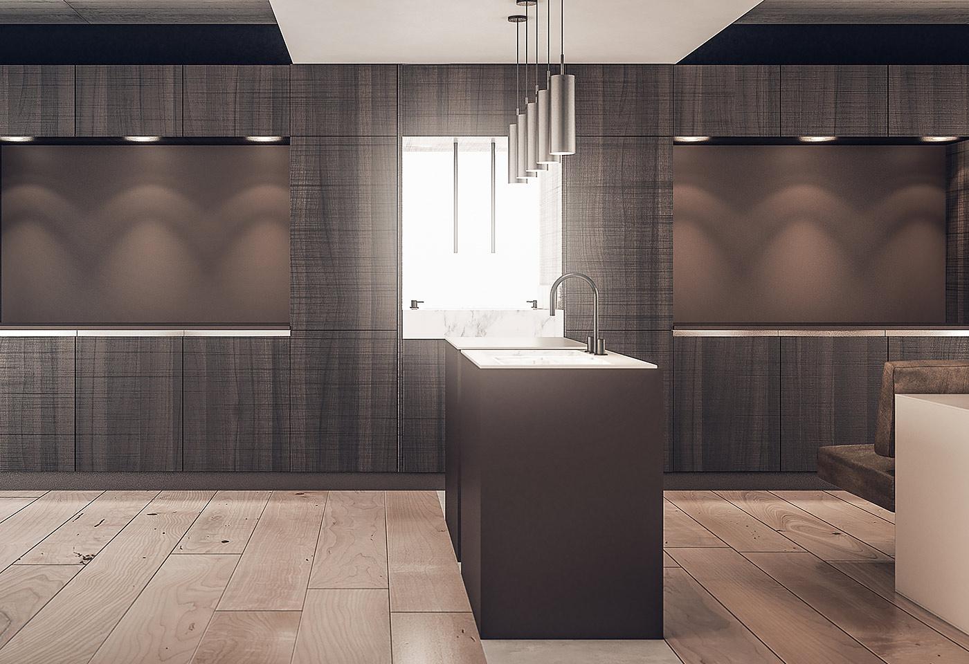 Einzelne Küchenelemente als abtrennbare Raumstrukturen, welche die Arbeitsküche individuell umsetzen lassen.