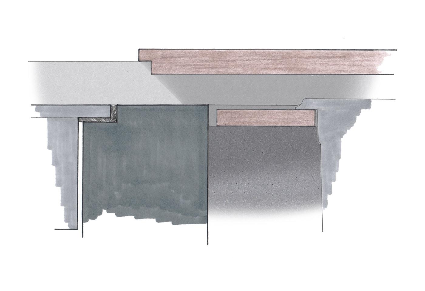 Skizze in Farbe mit unterschiedlichen Möglichkeiten der Gestaltung der Oberfläche einer Kücheninsel.