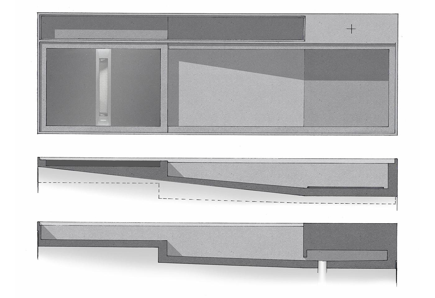 Freistehende Kochinsel mit unter-schiedlichen Küchenmöbel als Skizze.