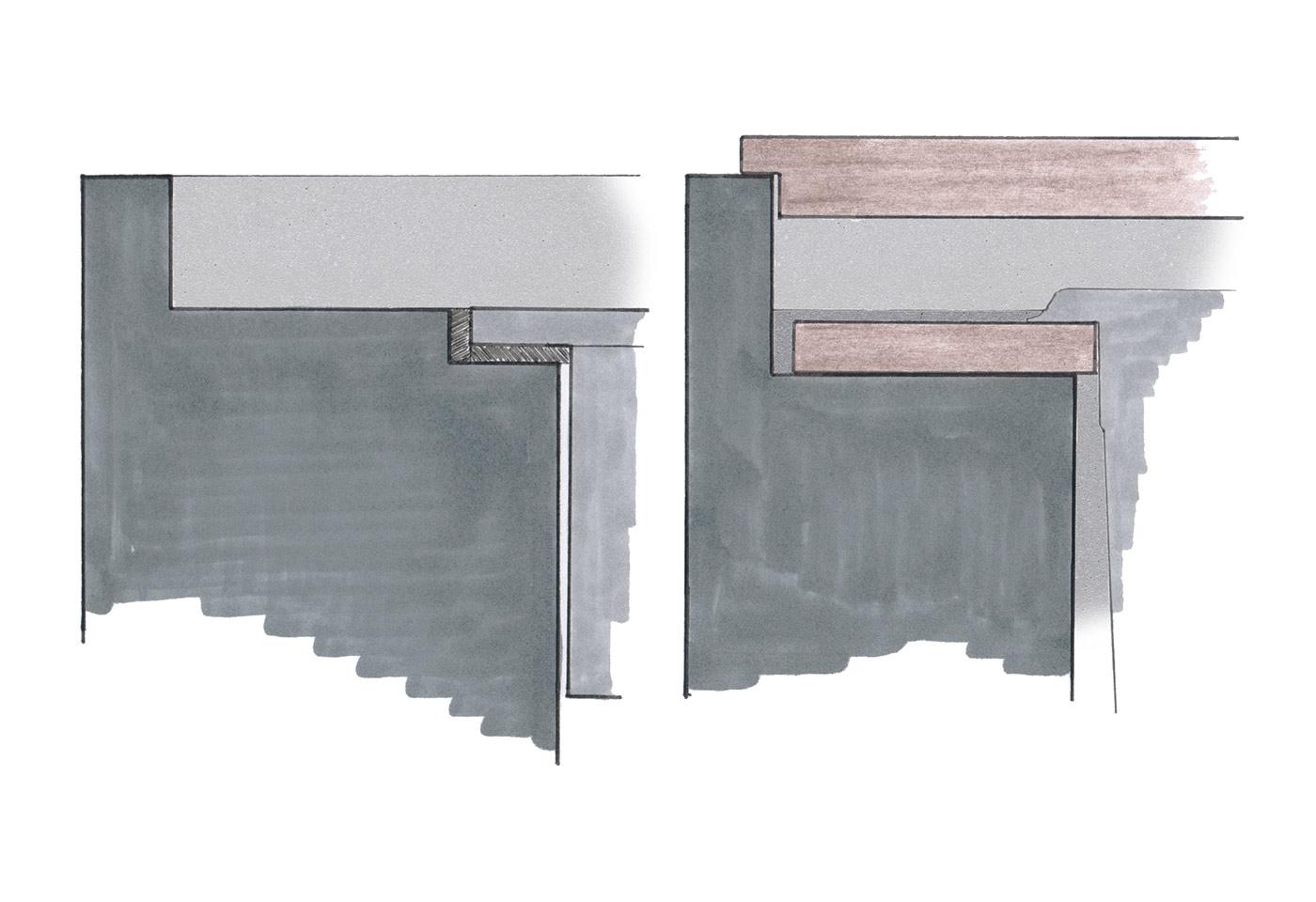 Farbskizze der Verarbeitung der Kochinsel. Küchenmöbel
