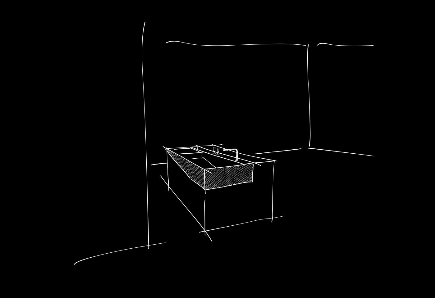 Die Skizze der mobilen Kochinsel in einfachen Handstrichen in schwarz weiss.