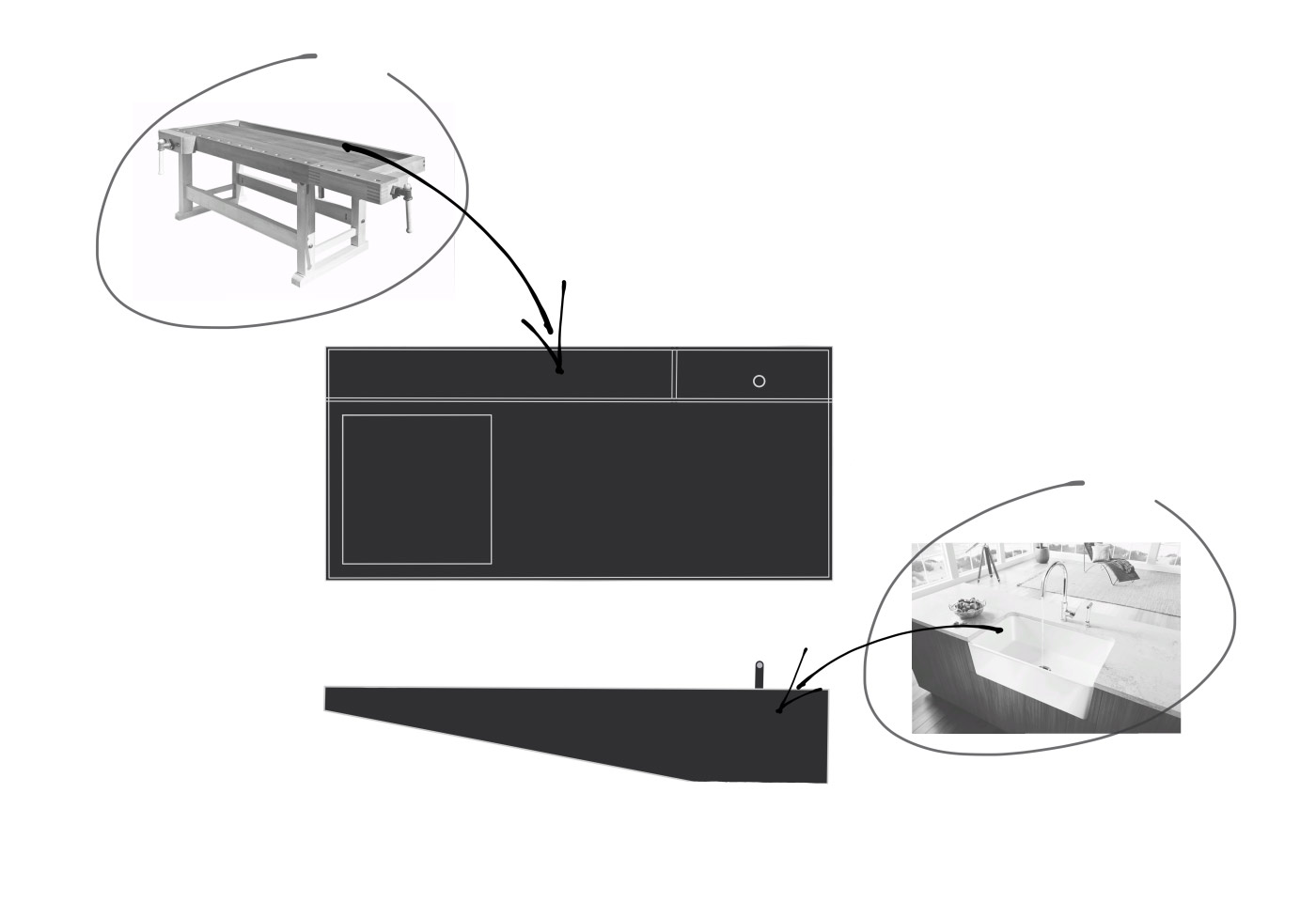 Skizzen von Möglichkeiten der beweglichen Kücheninsel in schwarz weiss.
