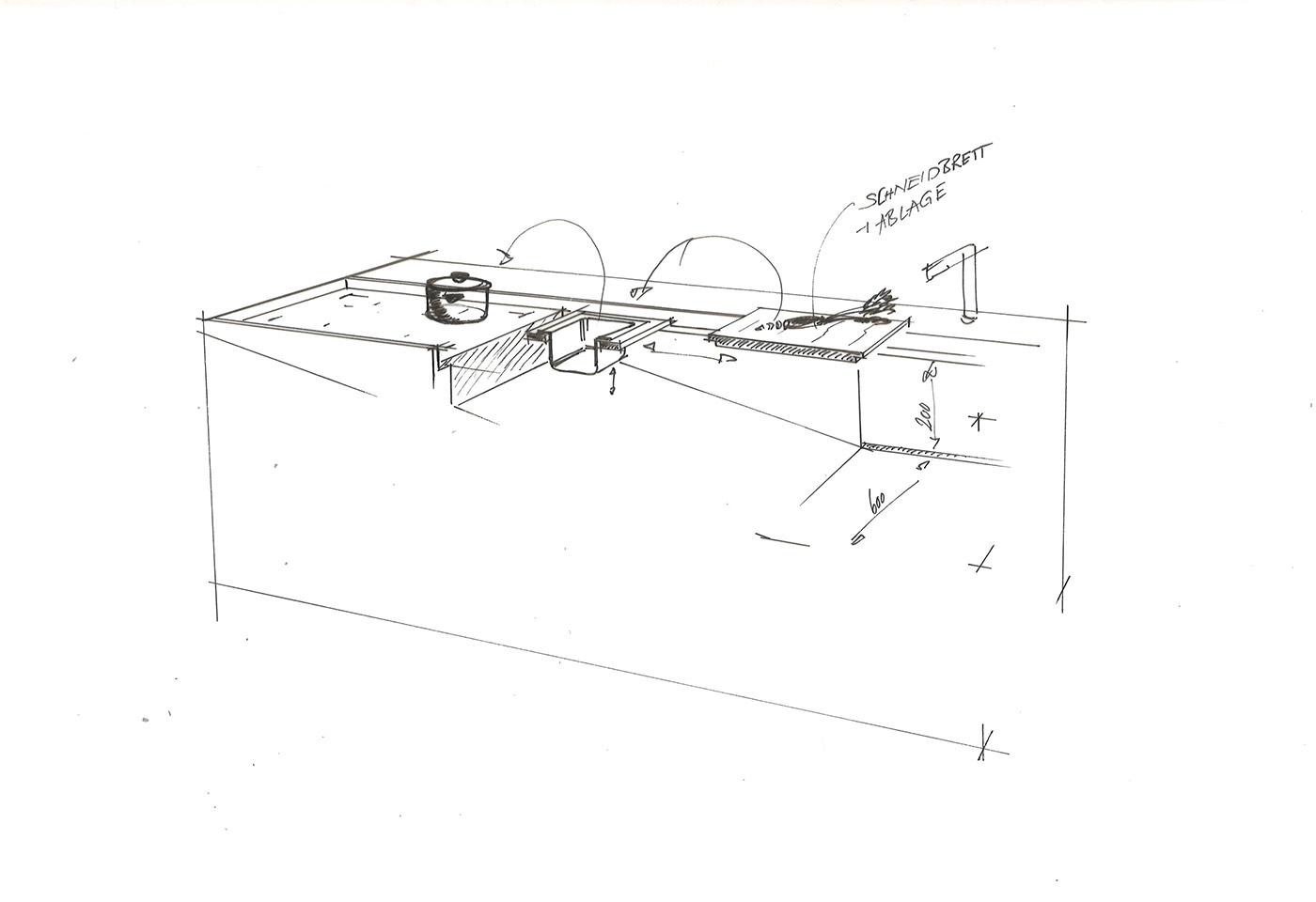 Skizze einer Küchenzeile zur Küchenplanung einer Orea T Kochinsel mit unterschiedlichen Features.