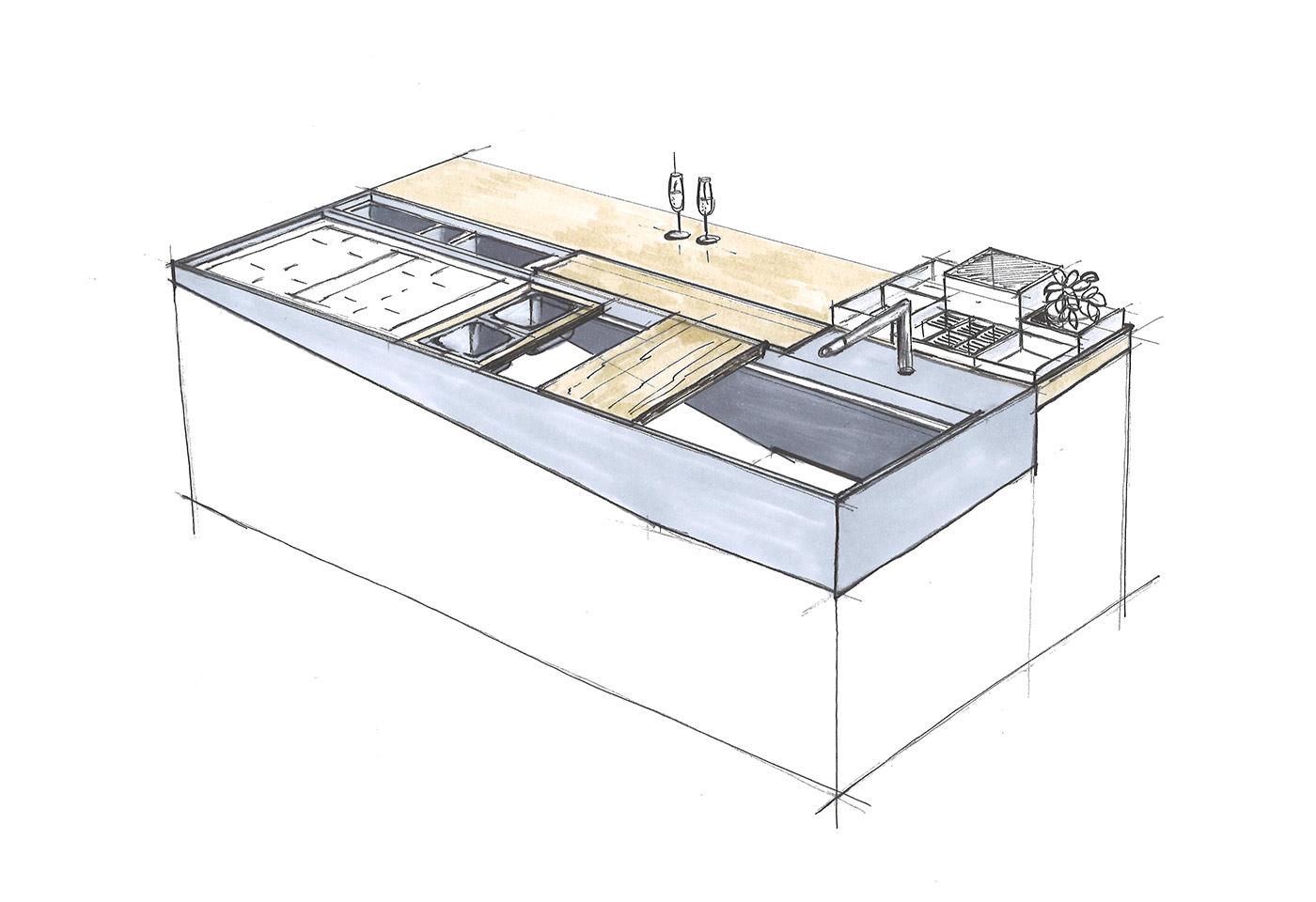 Kücheninsel als Zeichnung mit Spülbecken und Kochfeld.