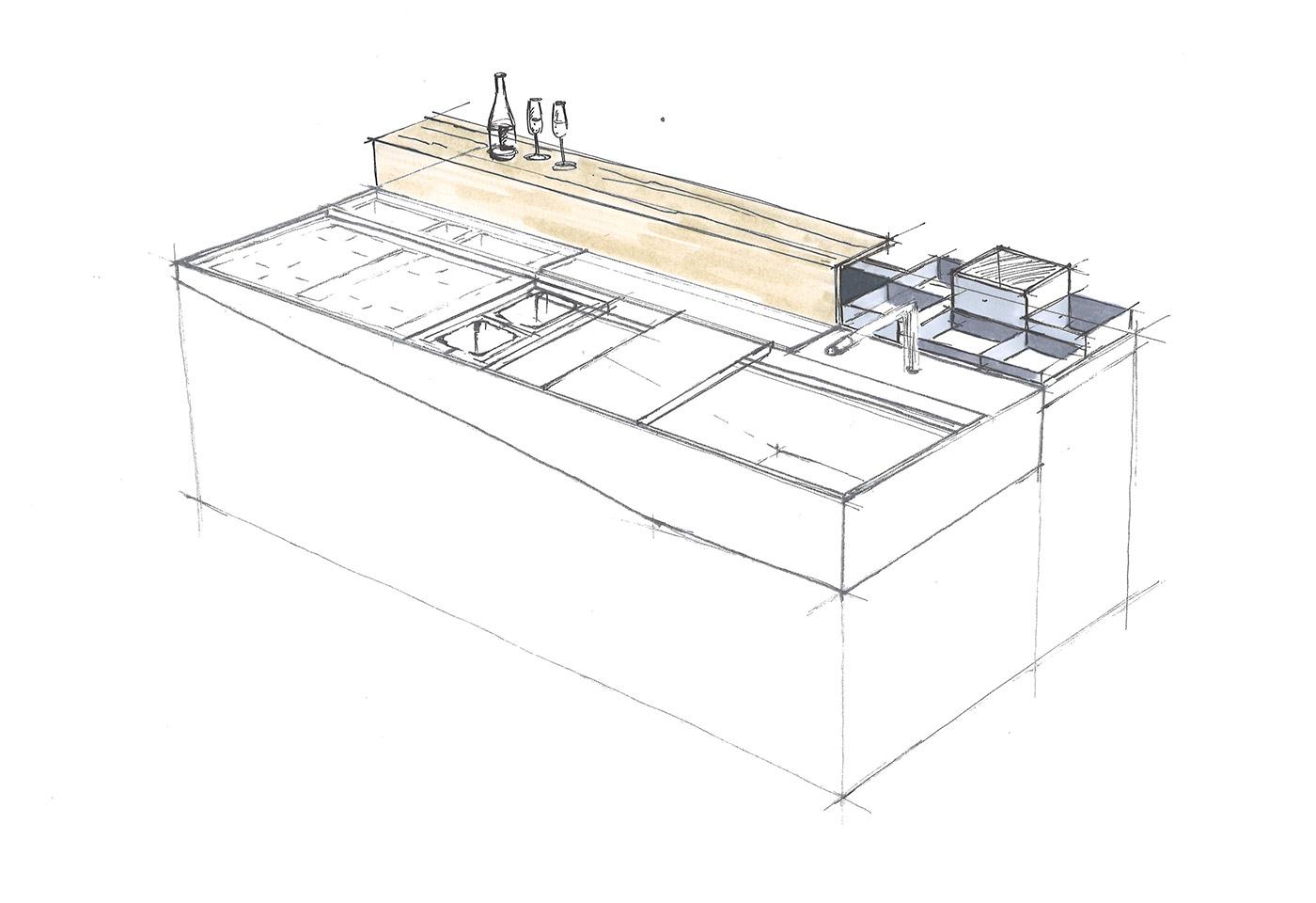 Bewegliche Accessoires auf Kochinsel für eine individuelle Gestaltung der Arbeitsfläche.
