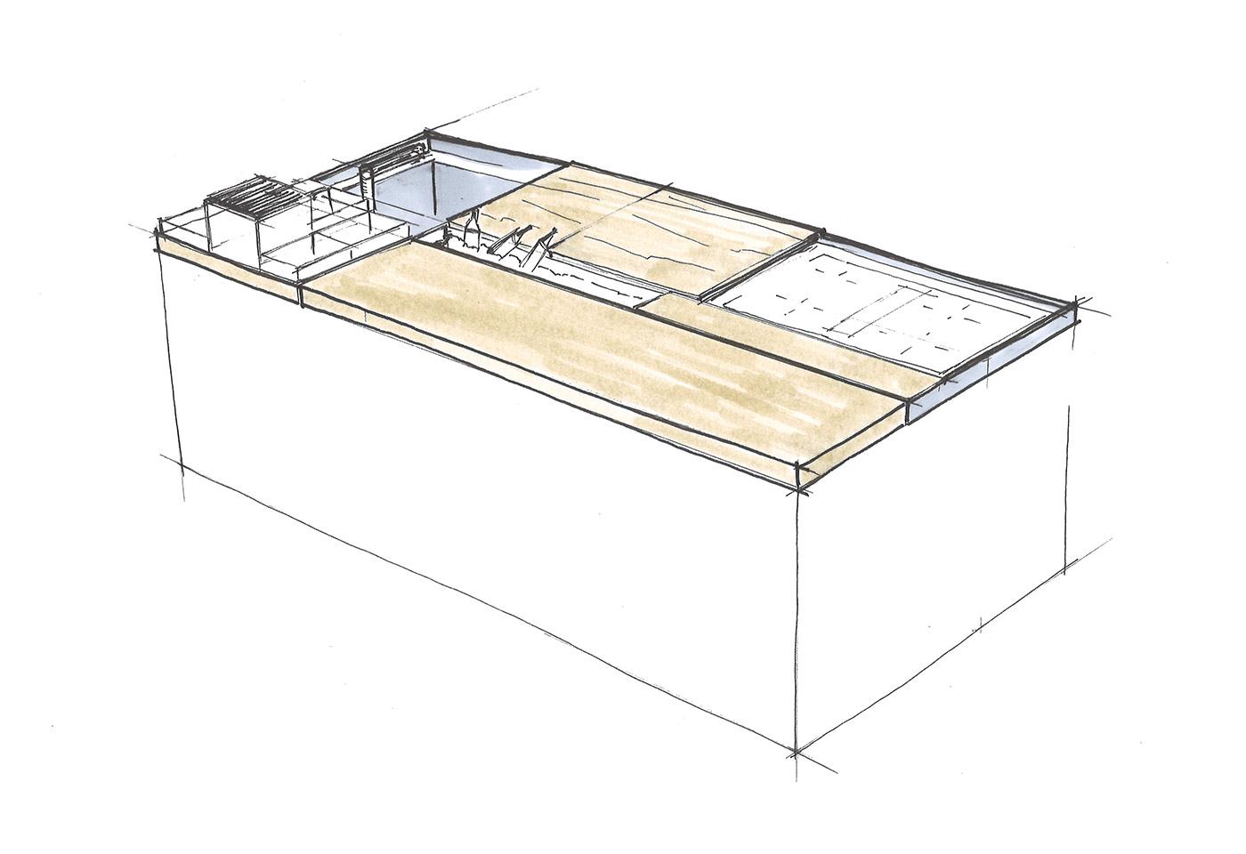 Zeichnung einer Kücheninsel mit zusätzlichem Stauraum, um Kochinsel als Wohnküche zu nut-zen.
